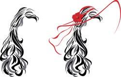 Шикарный женский стиль причёсок иллюстрация вектора