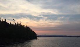 Шикарный заход солнца Сиэтл Стоковая Фотография RF