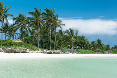 Шикарный приглашая вид на океан на тропической предпосылке пляжа с белым песком на кубинськом острове стоковое фото