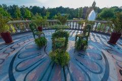 Шикарный состав стульев и таблица приготовленная зелеными растениями стоя на круглой платформе вымощенной с сделанными по образцу Стоковые Изображения