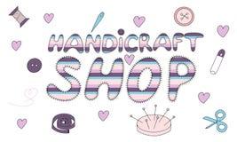 Шильдик для магазина шить или вязать иллюстрация штока