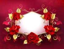 Шильдик с красными розами ювелирных изделий Стоковые Фотографии RF