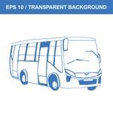 шина Изображение старого транспорта Эскиз вектора нарисованный рукой стоковые фотографии rf