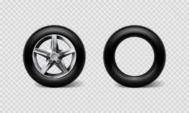 Шина покрышки комплекта колес автомобиля иллюстрации вектора запаса реалистическая, тележка изолированная на прозрачной checkered иллюстрация штока