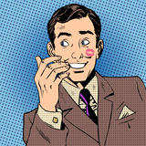 Шипучка искусства стиля губной помады стороны поцелуя человека плейбоя красная иллюстрация штока