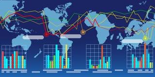 Широкая карта мира с диаграммами Стоковые Фотографии RF