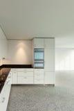 Широкая квартира, современная кухня Стоковое Изображение