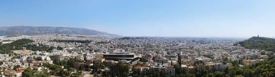 Широкая панорама города от акрополя Афин Стоковые Фото