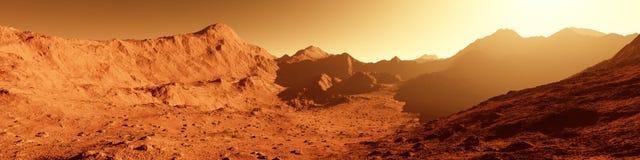 Широкая панорама повреждает - красная планета - ландшафт с горой Стоковое Изображение RF