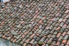 Широкая съемка перспективы кирпича покрыла крышу стоковые изображения rf