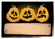 Широкие пергамент и тыквы 3 хеллоуина Стоковая Фотография RF
