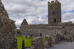 Широкий взгляд аббатства Клары Augustinian снаружи Ennis монастыря как раз, графство Клара, Ирландия которая сидит наряду с Fergu стоковое фото rf