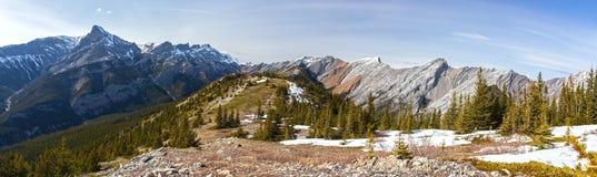 Широкий панорамный взгляд ландшафта горы Ридж Exshaw, зеленых лугов и далеких Snowcapped канадских пиков скалистых гор на солнечн стоковая фотография rf