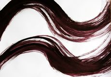 2 широких волнистых линии нарисованной щеткой бесплатная иллюстрация