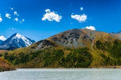 Широкое река пропускает на ноге гор покрытых лесами Стоковые Изображения