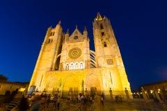 Широкоформатная съемка собора Леона Стоковая Фотография RF