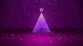 Широкоформатная съемка темы зимы для предпосылки рождества или Нового Года с космосом экземпляра Дерево Xmas от зарева сияющего иллюстрация вектора