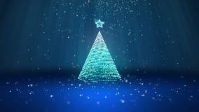 Широкоформатная съемка темы зимы для предпосылки рождества или Нового Года с космосом экземпляра Дерево Xmas от зарева сияющего иллюстрация штока