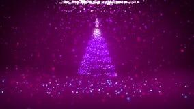 Широкоформатная съемка темы зимы для предпосылки рождества или Нового Года с космосом экземпляра Дерево Xmas от частиц в среднем бесплатная иллюстрация