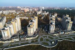 Широкоформатный взгляд городского ` Бородино ` недвижимости стоковые фотографии rf