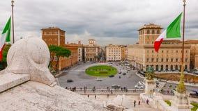 Широкоформатный взгляд над венецианским квадратом в Риме - аркаде Venezia Стоковое Изображение RF