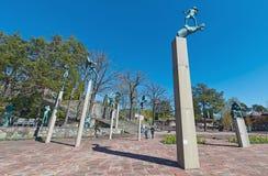 Широкоформатный взгляд на Millesgarden с статуями играть ангелов Стоковые Изображения