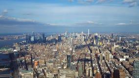 Широкоформатный вид с воздуха над Манхэттеном Нью-Йорком стоковое изображение