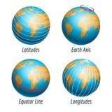 Широта и долгота глобуса земли Стоковое фото RF