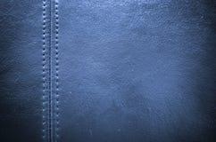 Шить голубая кожаная предпосылка текстуры Стоковые Изображения