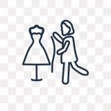 Шить значок вектора женщины изолированный на прозрачной предпосылке, lin иллюстрация вектора