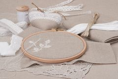 Шить и набор ремесла вышивки полотно естественное Стоковая Фотография