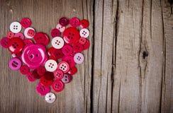 Шить кнопки в форме сердца Стоковое Фото