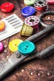 Шить комплект кнопки Стоковое Изображение