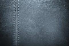 Шить синяя кожаная предпосылка текстуры Стоковые Изображения RF