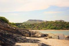 Шифер на песчаном пляже с побережья Уэльса Стоковые Изображения RF