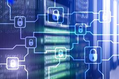 Шифрование данным по Blochain Безопасность кибер, секретная валюта стоковые изображения