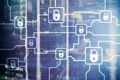 Шифрование данным по Blochain Безопасность кибер, секретная валюта стоковые фотографии rf