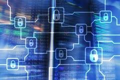 Шифрование данным по Blochain Безопасность кибер, секретная валюта стоковое фото