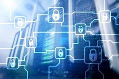 Шифрование данным по Blochain Безопасность кибер, секретная валюта стоковая фотография