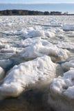 Шишки frazil снега и льда на поверхности замерзать rive Стоковое Изображение