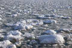 Шишки frazil снега и льда на поверхности замерзать rive Стоковое Фото
