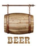Шильдик бочонка форменный деревянный Стоковое Фото