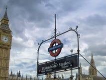 Шильдик Вестминстера общественный sunbway стоковые изображения