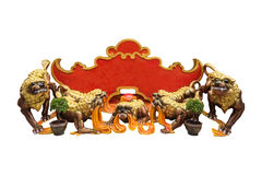 Шильдик с китайской статуей льва Стоковая Фотография RF