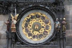 Шкала календаря астрономических часов Праги стоковые фотографии rf
