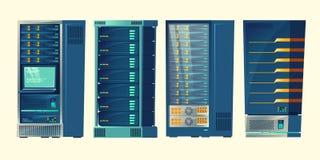 шкафы сервера, комната базы данных, центр данных бесплатная иллюстрация