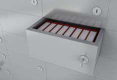шкаф открытого файла 3d с папками Стоковые Изображения