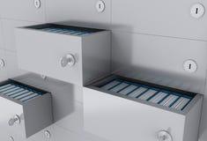 шкаф открытых файлов 3d с папками Стоковые Фото