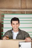 Шкаф плотника измеряя с лентой Стоковые Изображения