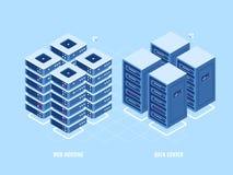Шкаф сервера веб - хостинга, равновеликий значок базы данных и центр данных, концепция цифровой технологии blockchain, облако иллюстрация вектора